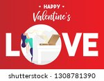 food pizza love concept. vector ... | Shutterstock .eps vector #1308781390