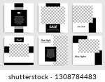 Stock vector new editable minimal square banner template black and white background color suitable for social 1308784483