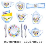 tea time set in retro style... | Shutterstock . vector #1308785776