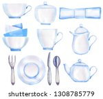 tea time set in retro style.... | Shutterstock . vector #1308785779