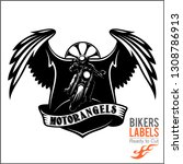 wings and motorcycle   badge or ... | Shutterstock .eps vector #1308786913