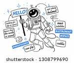 sketch spaceman in a spacesuit... | Shutterstock .eps vector #1308799690