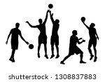 silhouettes of guys playing... | Shutterstock .eps vector #1308837883