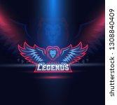 lion eagle wings esport logo... | Shutterstock .eps vector #1308840409
