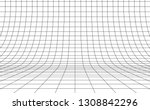 grid curved background empty in ... | Shutterstock .eps vector #1308842296