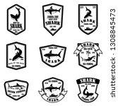 set of shark fishing emblems.... | Shutterstock .eps vector #1308845473
