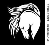 white horse with long flying... | Shutterstock .eps vector #1308848683
