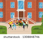 students jump and rejoice in... | Shutterstock .eps vector #1308848746
