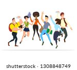 happy people jump. a set of... | Shutterstock .eps vector #1308848749