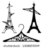 eiffel tower and clothes... | Shutterstock .eps vector #1308855049