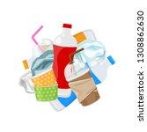 pile of plastic waste dump... | Shutterstock .eps vector #1308862630