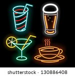 Food Symbols In Neon Isolated...