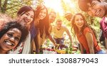 group of happy friends eating... | Shutterstock . vector #1308879043