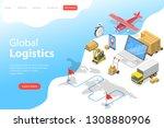flat isometric vector landing... | Shutterstock .eps vector #1308880906