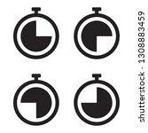 stopwatch icon set  black...   Shutterstock .eps vector #1308883459