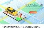 3d isometric web banner car... | Shutterstock .eps vector #1308894043