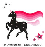 black unicorn silhouette with... | Shutterstock .eps vector #1308898210