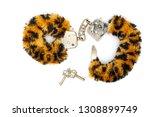 fur handcuffs on white... | Shutterstock . vector #1308899749