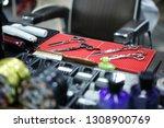 professional metal scissors on... | Shutterstock . vector #1308900769