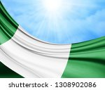 nigeria  flag of silk with... | Shutterstock . vector #1308902086