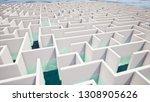 Success Concept In White Maze...