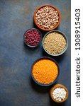 assortment of legumes  beans... | Shutterstock . vector #1308915403