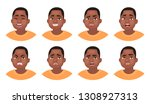 set of different emotions male... | Shutterstock .eps vector #1308927313