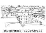 scene street illustration. hand ... | Shutterstock .eps vector #1308929176