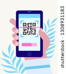 hand with pnone. qr code...