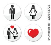 wedding icons   married couple  ... | Shutterstock .eps vector #130893728