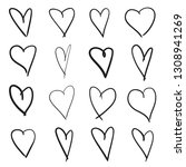hand drawn grunge hearts on... | Shutterstock . vector #1308941269