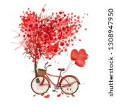 love bikes with love trees | Shutterstock . vector #1308947950