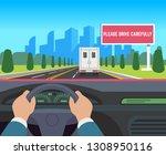 hands driving car. auto inside... | Shutterstock .eps vector #1308950116