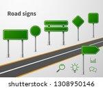 green road sings. banner...   Shutterstock .eps vector #1308950146