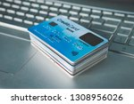 close up of credit cards set in ...   Shutterstock . vector #1308956026