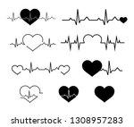 heartbeat line icon set.... | Shutterstock .eps vector #1308957283
