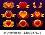hearts red set. gold templates...