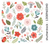 set of cute hand drawn spring... | Shutterstock .eps vector #1308960340