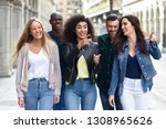 multi ethnic group of young... | Shutterstock . vector #1308965626