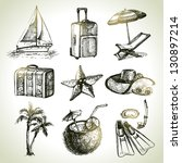 travel set. hand drawn... | Shutterstock .eps vector #130897214