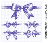 set of bow. hand drawn... | Shutterstock .eps vector #130897568