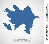 azerbaijan map. blue azerbaijan ... | Shutterstock .eps vector #1308978973