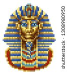 egyptian pharaoh mask icon in a ... | Shutterstock .eps vector #1308980950