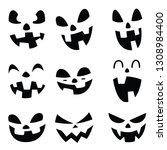 pumpkin smiley face on... | Shutterstock .eps vector #1308984400
