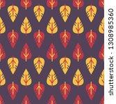 vector seamless leaves pattern. ... | Shutterstock .eps vector #1308985360