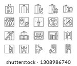 lift line icon set. included... | Shutterstock .eps vector #1308986740