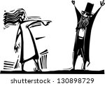 woman pointing and accusing a... | Shutterstock . vector #130898729
