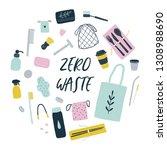 zero waste living. vector hand... | Shutterstock .eps vector #1308988690
