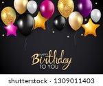 glossy happy birthday balloons... | Shutterstock .eps vector #1309011403