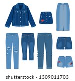 jeans clothing. trendy fashion...   Shutterstock .eps vector #1309011703